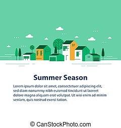 קיץ, בתים, תבל, ירוק, קטן, שיט, קטנטן, כפר, הבט, שכונה, כפר, יפה, דיורי