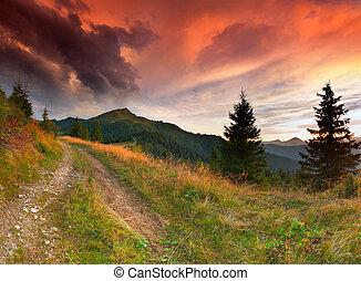 קיץ, דרמטי, הרים., נוף, עלית שמש