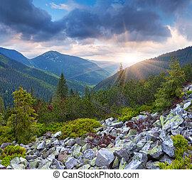 קיץ, דרמטי, שקיעה, הרים., נוף