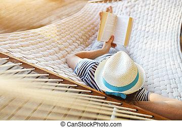 קיץ, הזמן, ערסל, כובע, יום, איש