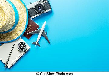 קיץ, טייל, blogger, accesories, ב, כחול, העתק רווח