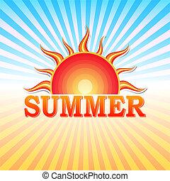 קיץ, כנה, עם, שמש, ו, קרנות