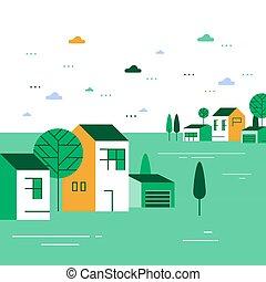 קיץ, כפר, קטן, ירוק, הבט, תבל, בתים, קטנטן, קבץ, יפה, כפר, שכונה, דיורי