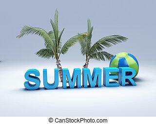 קיץ, מילה, דוגמה, מכתב, צבעוני, 3d