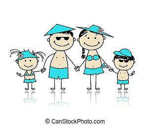 קיץ, משפחה, holidays., עצב, שלך, שמח