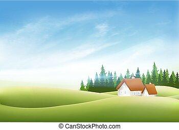 קיץ, נוף של טבע, עם, כפר, דיר, דשא ירוק, וכחול, sky., וקטור