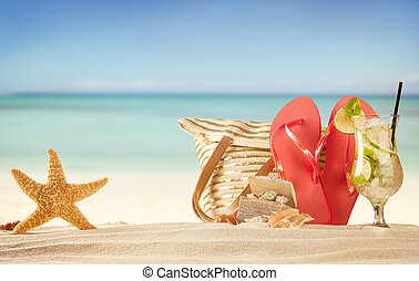 קיץ, סנדלים, החף, אדום, קליפות