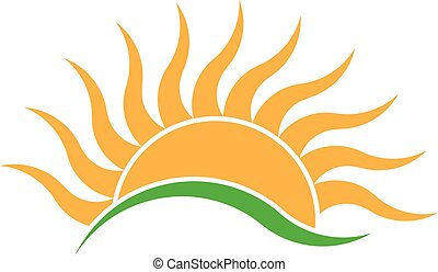 קיץ, עלית שמש, קרזל, קרנות, logo., וקטור, לוגו, עצב