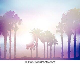 קיץ, עץ, בצע, דקל, ראטרו, נוף