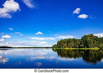 קיץ, פינלנד, אגם, נוף