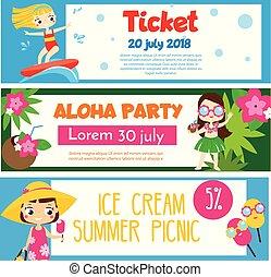 קיץ, פרסומות, הזמנות, ילדים, banners., פעילות, כיף, מפלגה, החף, בעל, שמח