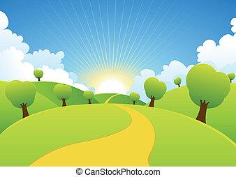 קיץ, קפוץ, רקע, כפרי, עונות, או