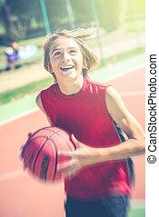 קיץ, שחק, בחוץ, סגנון חיים, מהודר, בריא, קפוץ, -, מתבגרים, מושג, מתבגר, זמן, כדור סל, או, שמח