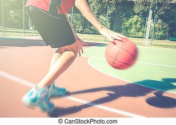 קיץ, שחק, בחוץ, סגנון חיים, מהודר, בריא, קפוץ, -, מתבגרים, מושג, מתבגר, זמן, כדור סל, או