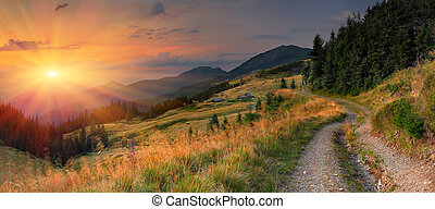 קיץ, שקיעה, הרים., נוף