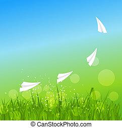 קיץ, illustration., תקציר, grass., וקטור, רקע