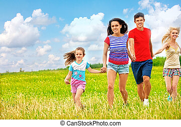 קיץ, outdoor., קבץ, אנשים