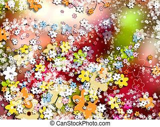 קישוטי, צבעוני, טפט, רקע, פרחים, או