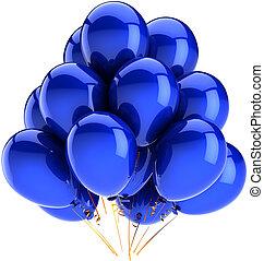 קישוט, כחול, יום הולדת, בלונים