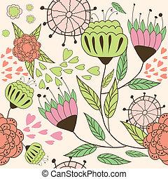 קישוט, רקע, עם, פרחים, .