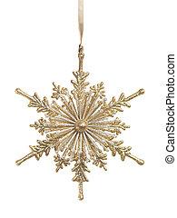 קישוט, snowlfake, זהב, חג המולד