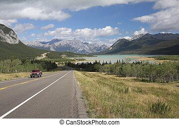 קנדה, הר, -, אגם, בא, לסבב, אלברטה, כביש מהיר
