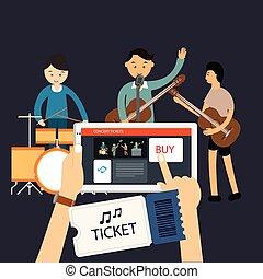 קנה, הופעה, נייד, אינטרנט, מוסיקה, אונליין, כרטיס
