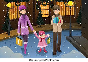 קניות, חג המולד, משפחה
