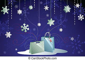 קניות, חורף, רקע
