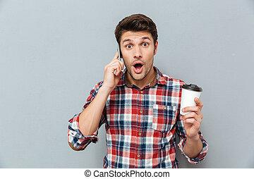 קפה, לדבר, טלפון נייד, להחזיק, טאקאיוואי, הפלא, איש