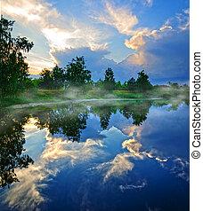 קפוץ, אגם, בוקר