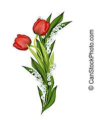 קפוץ, הפרד, רקע, צבעוניים, פרחים לבנים