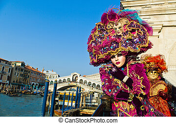 קרנבל, ב, ה, יחיד, עיר, של, ונציה, ב, italy., ונציאני, מסכות