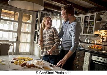 קשר, מטבח, להתכונן, לאהוב, פסטה