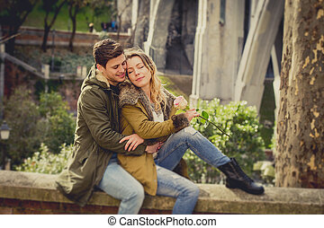 קשר, עם, עלה, אהוב, להתנשק, ב, רחוב, סימטה, לחגוג, יום של ולנטיינים, עם, תשוקה, לשבת, ב, עיר חונה