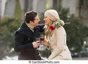 קשר, עם, a, עלה, להתנשק, ב, יום של ולנטיינים