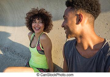 קשר, שמח, לצחוק, בגדי ספורט, כושר גופני