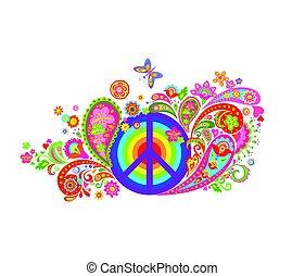 קשת, היפי, צבעוני, בציר, סמל, שלום, תבנית, הדפס, פרחים