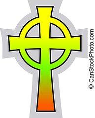 קתולי, *קלטי, צבעוני, עובר, דוגמה, וקטור, רקע, לבן