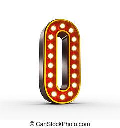 ראטרו, מספר אפס, עם, מבריק, אורות, ל, הצג