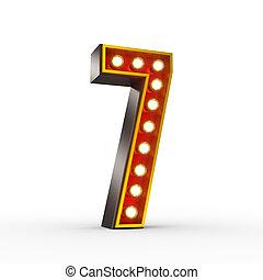 ראטרו, מספר שבעה, עם, מבריק, אורות, ל, הצג