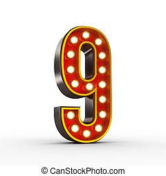 ראטרו, מספר תשעה, עם, מבריק, אורות, ל, הצג