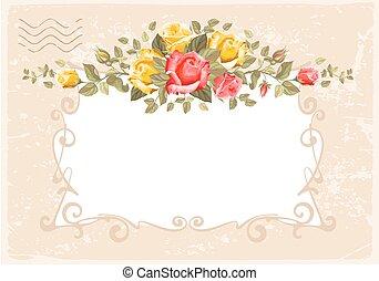 ראטרו, פרוח, card-, ורדים