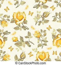 ראטרו, פרוח, seamless, תבנית, -, ורדים