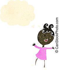 ראטרו, ציור היתולי, אישה שמחה