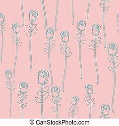 ראטרו, seamless, רקע, ורדים, פרחוני, וקטור, בציר, pattern., ורוד