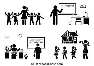 ראשון, סטודנט, שולחן, הורה, ילדים, מורה, הבן, ילדים, יום, איקון, pictogram., ללמד, לשבת, לוח לגיר, הדבק, קבע, השקע, לכתוב, וקטור, בית ספר