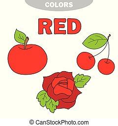 ראשי, וקטור, colors., red., למד, color., set., דוגמה, חינוך