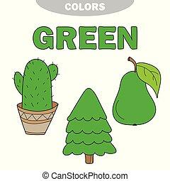 ראשי, green., וקטור, colors., למד, color., set., דוגמה, חינוך