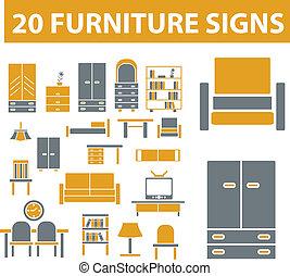 רהיטים, סימנים